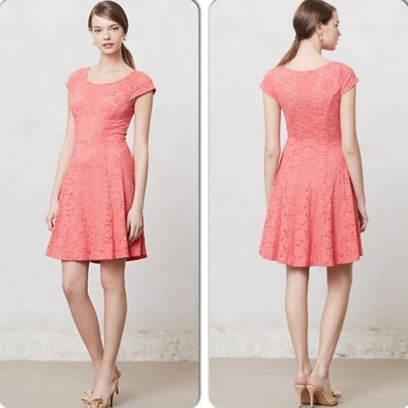d9a7794d3f69 Anthropologie Dresses | Maeve Coral Pink Lace Dress Small S | Poshmark